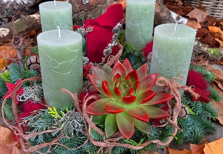 adventskranz grün modern